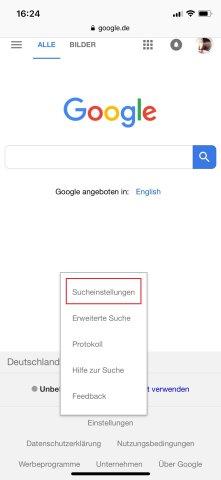 iOS: Hier löscht ihr den Google Verlauf über die Sucheinstellungen.
