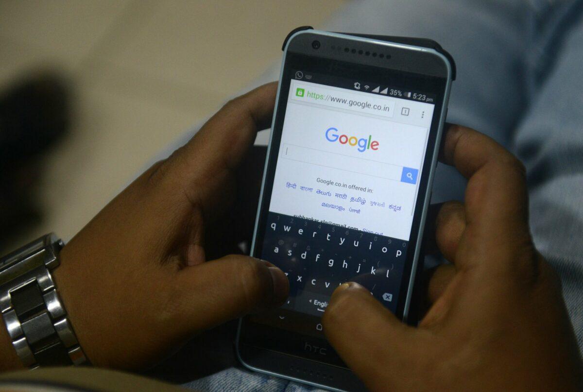 Google-Suchmaske auf einem Smartphone