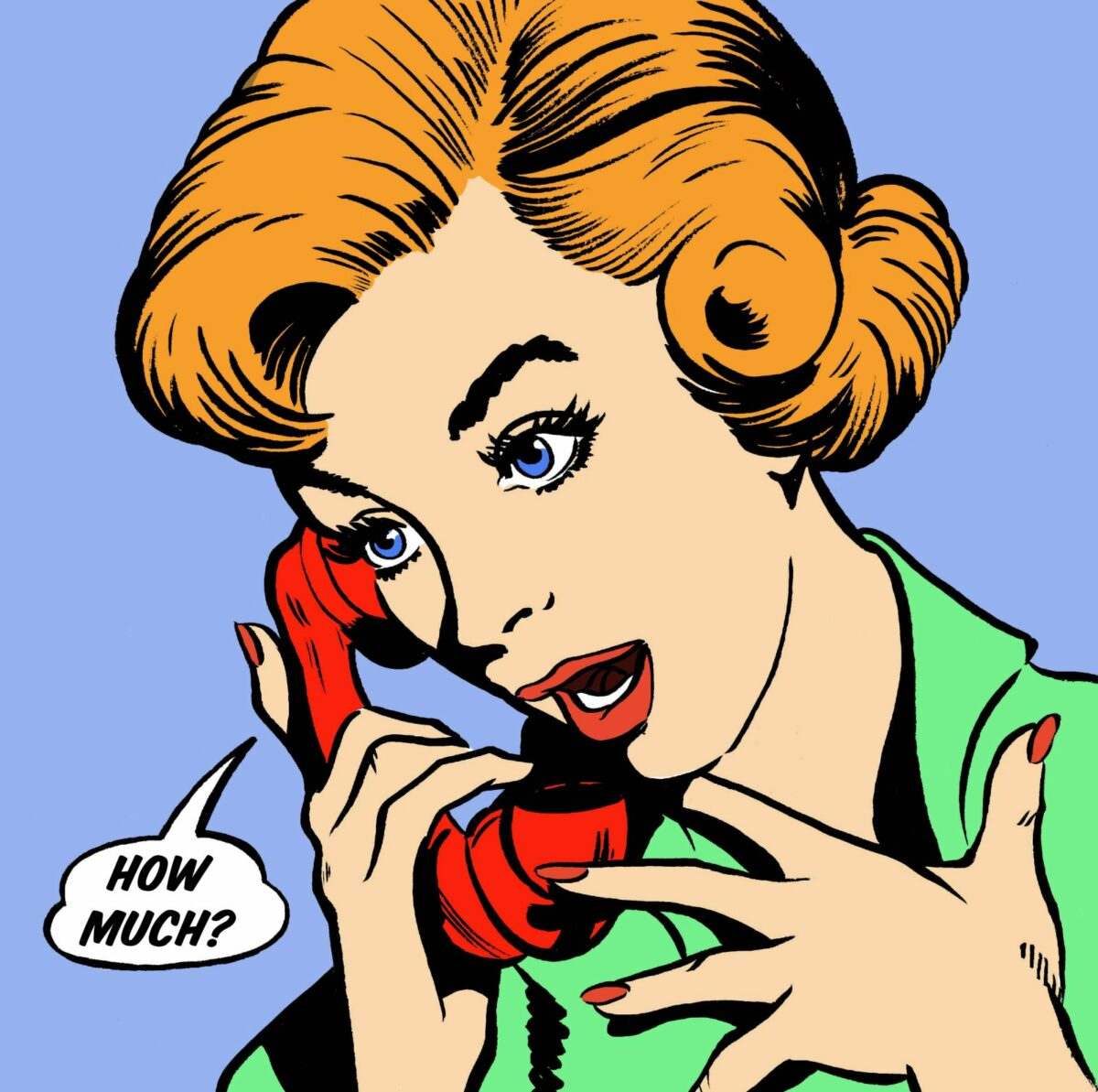 Illustration einer Frau am Telefon