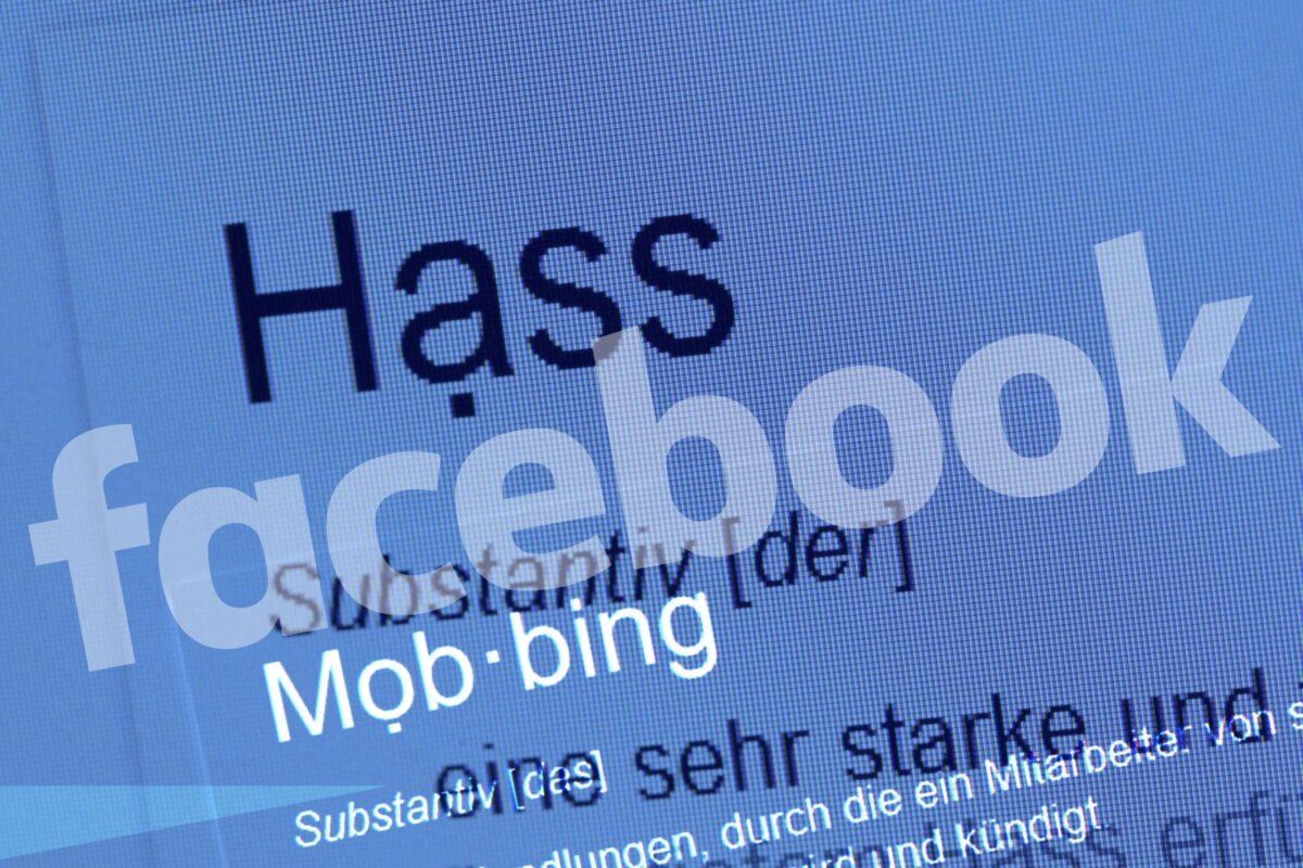 Hass Definition mit Facebook-Logo
