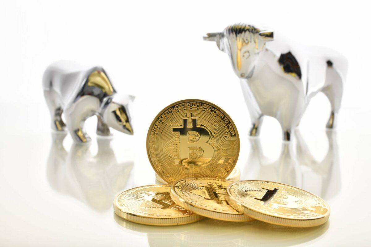 Bitcoin-Münzen neben einem Bären und einem Stier.