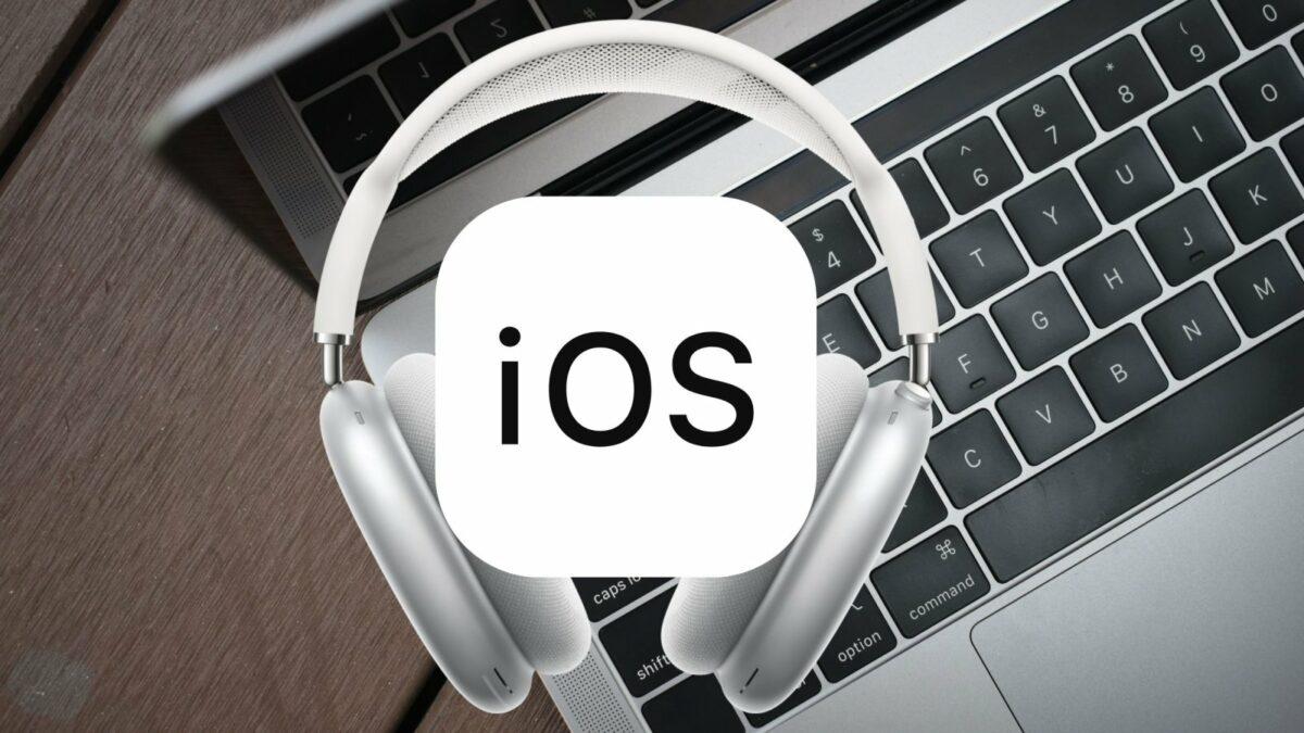 iOS-Schriftzug und AirPods-Max und MacBook
