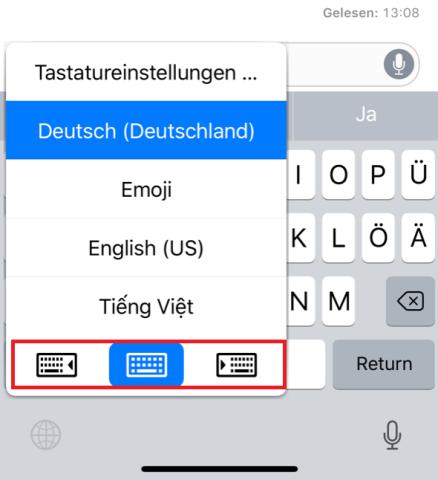 Einhändig schreiben ist kein Problem: Tipp bei deiner Tastatur ganz unten links auf das Globus-Symbol und öffne im unteren Bereich die Tastatur für Linkshänder oder Rechtshänder.