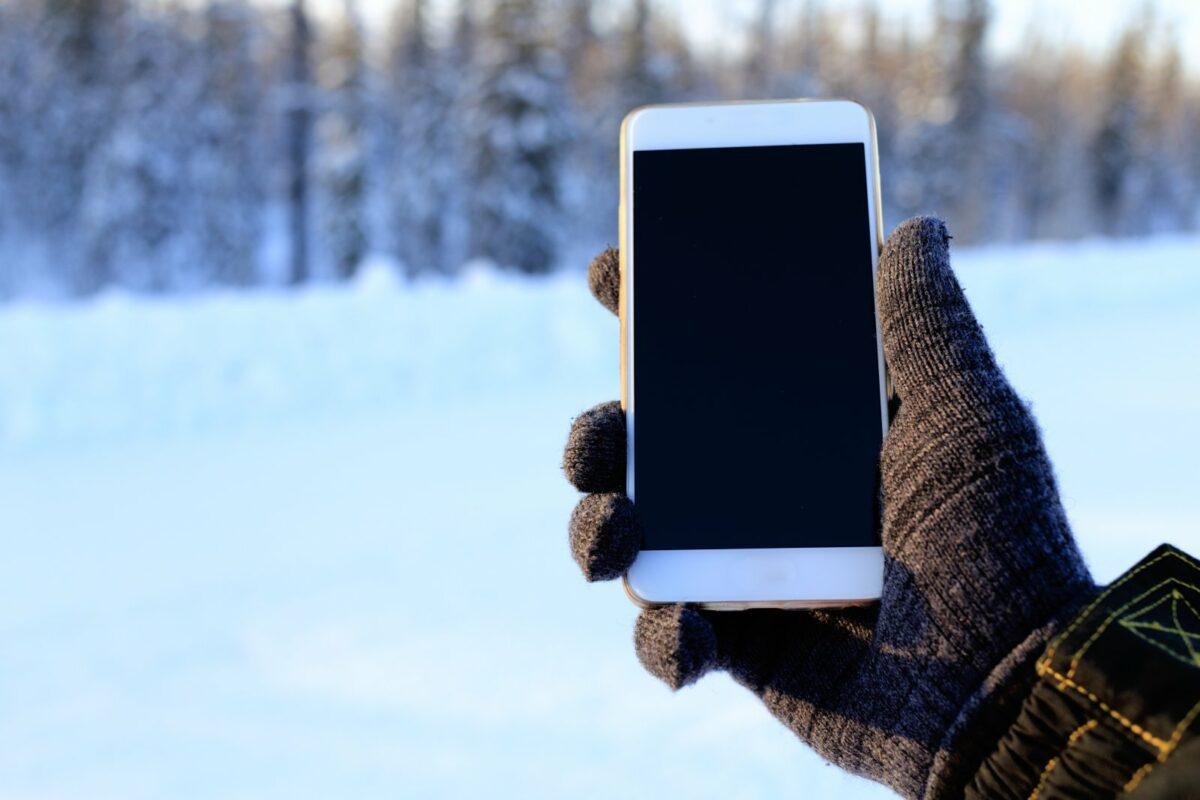 iPhone im Winter.