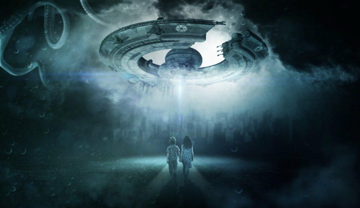 Illustration von Menschen vor einem UFO