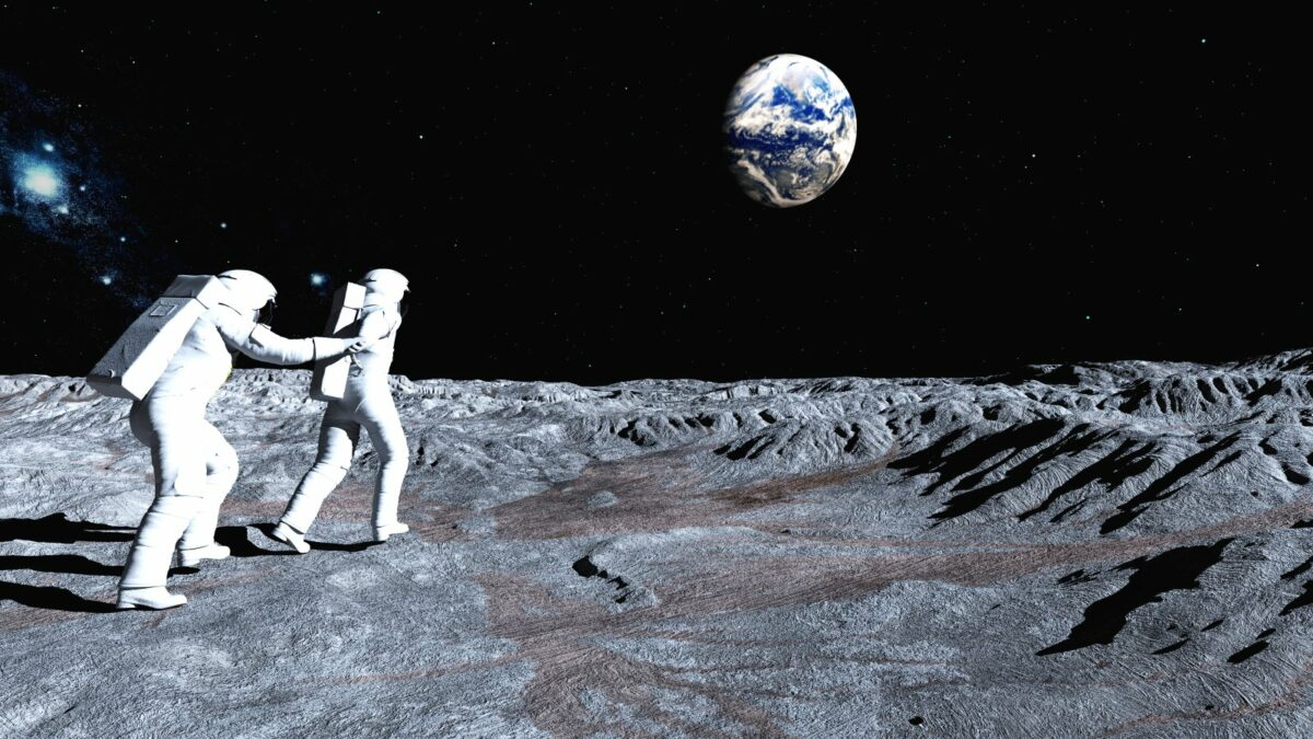 Astronauten auf dem Mond.