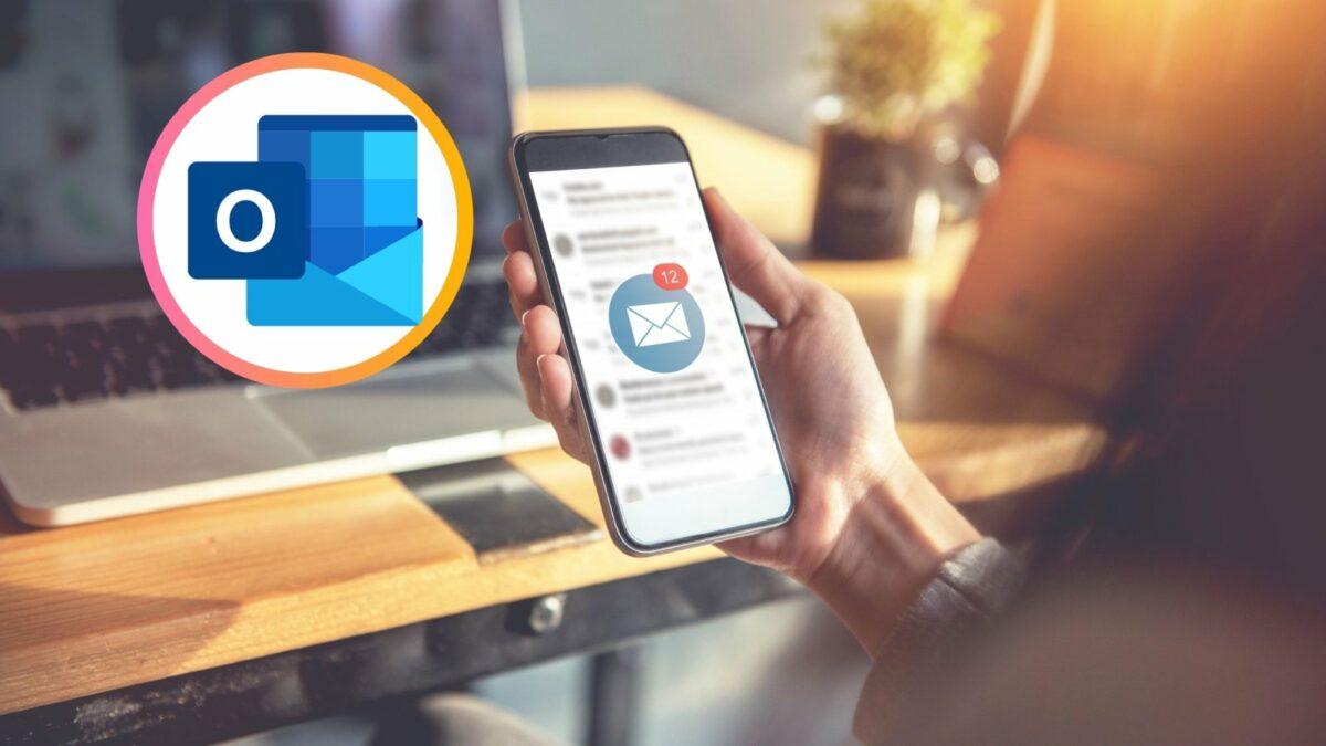 Mailprogramm auf dem Smartphone und das Outlook-Logo