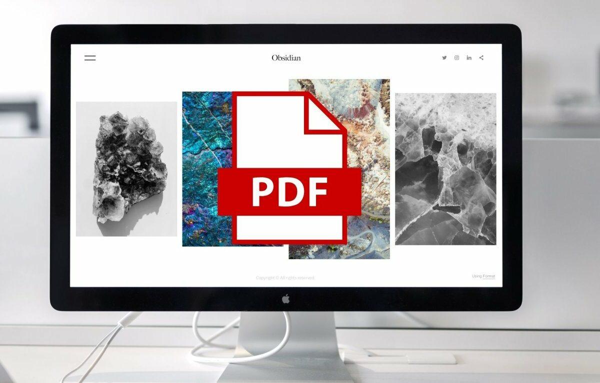 Mac mit PDF-Symbol