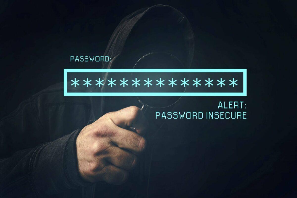 Feld für Passwort-Eingabe unter der Lupe