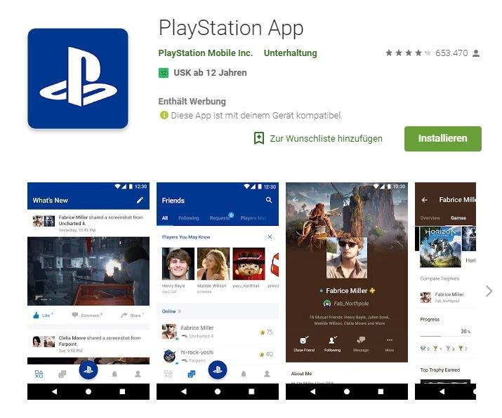 Die PlayStation-App im Google Play Store