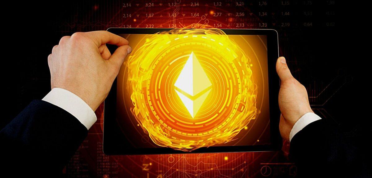 Ethereum-Logo auf einem Tablet