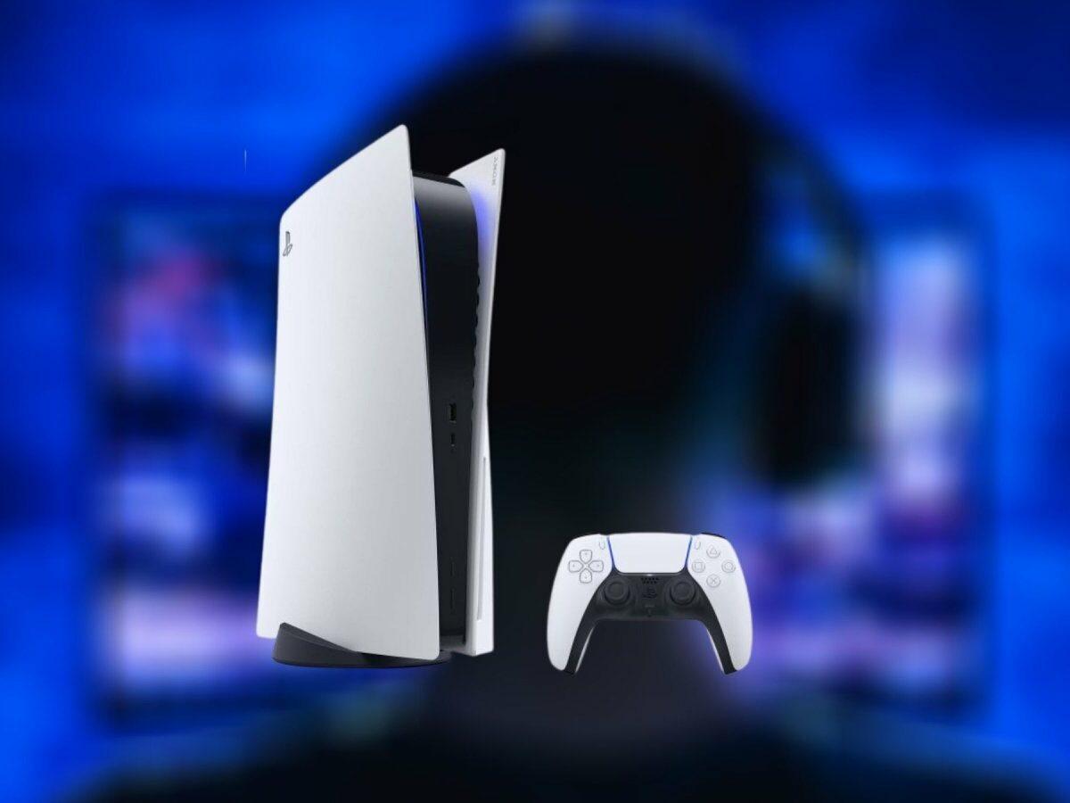 PlayStation 5 vor einem Fernseher und einem Gamer mit Headset