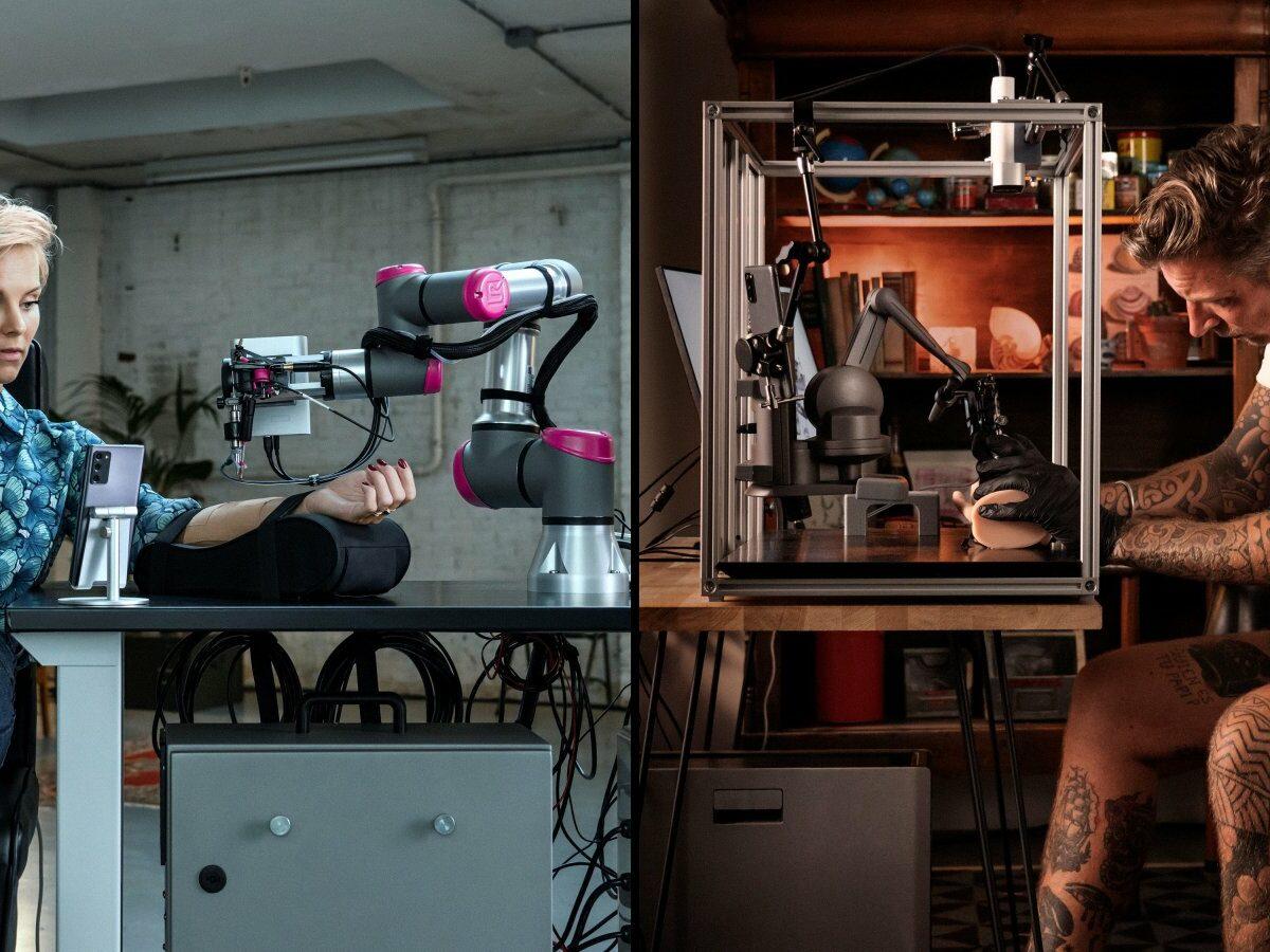 Stijn Fransen (l.) bekommt via Remote ein Tattoo von Wes Thomas (r.) gestochen.