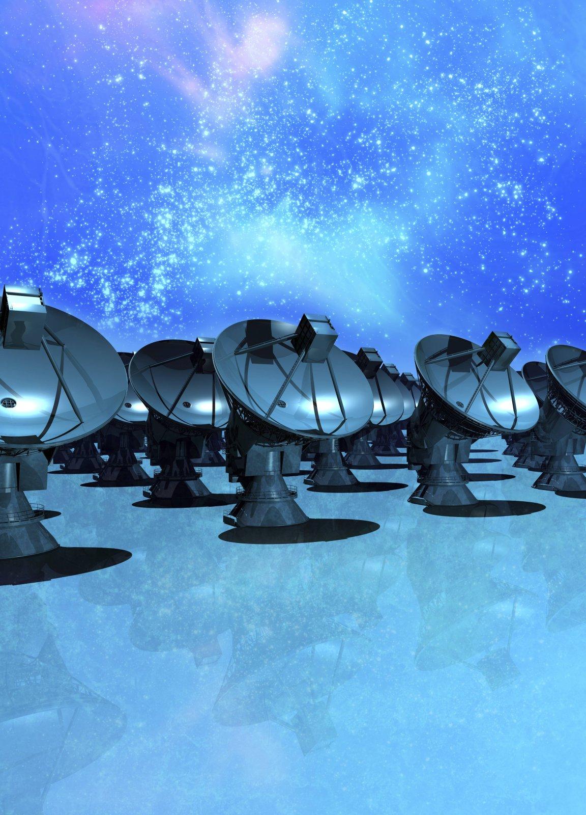 Illustration vieler Satellitenschüsseln unter Sternenhimmel