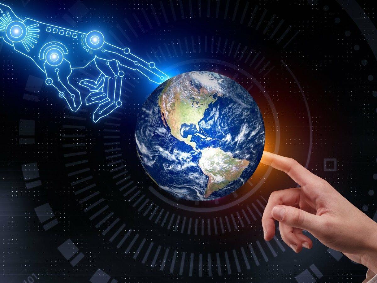 Welt in der Hand von Robotern und Menschen