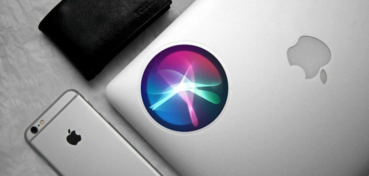 Siri-Logo und Apple-Produkte