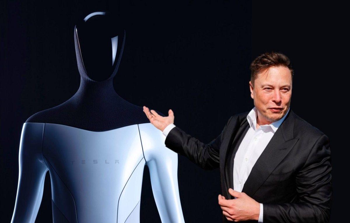 Elon Musk vor einem Tesla Bot
