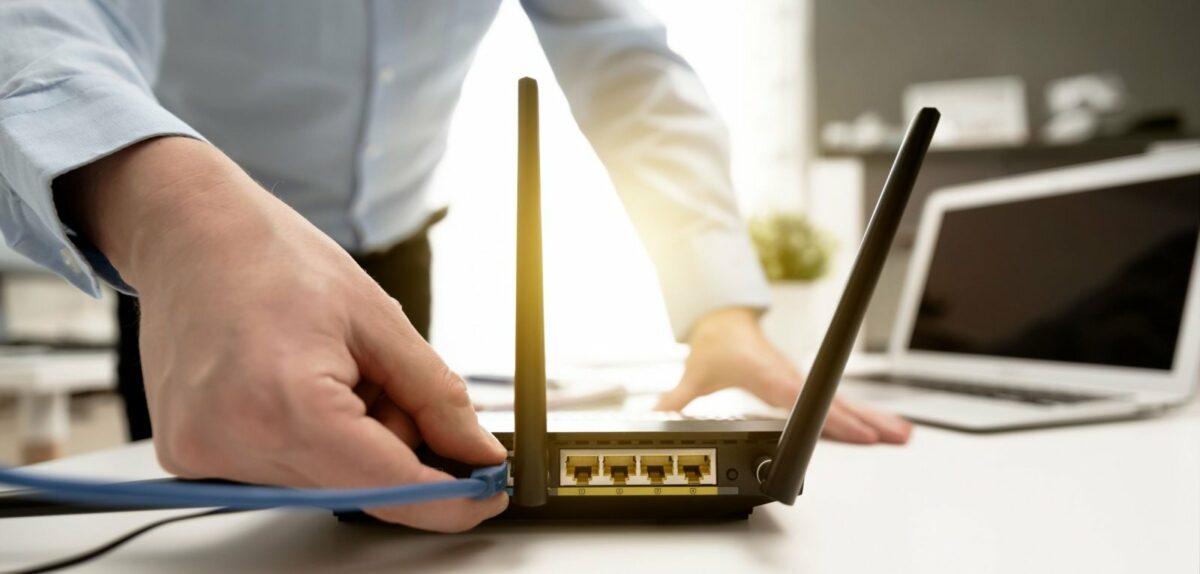 Router wird angeschlossen.