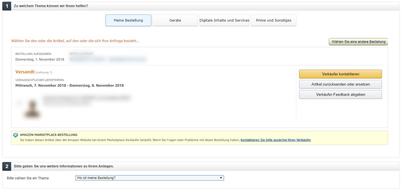 Der letzte Schritt vor der Verzweiflung: Kontaktiere Amazon direkt.