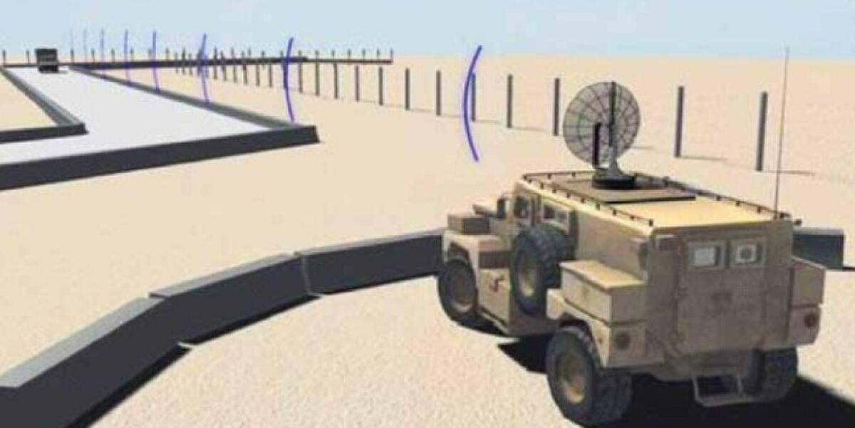 Eine Mikrowellen-Kanone zu Abwehr von Fahrzeugen.