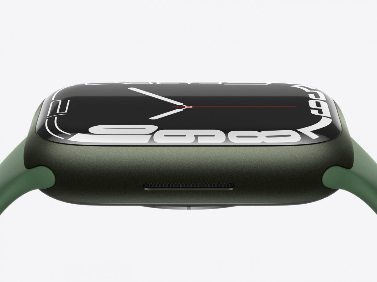 Die Apple Watch Series 7 in Grün.