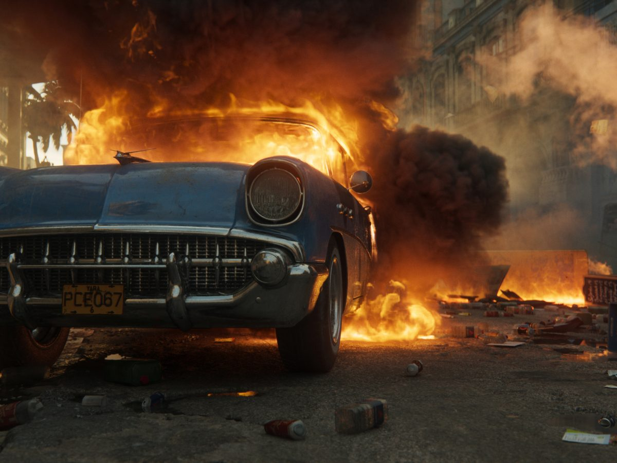 Screenshot aus Far Cry 6 brennendes Auto