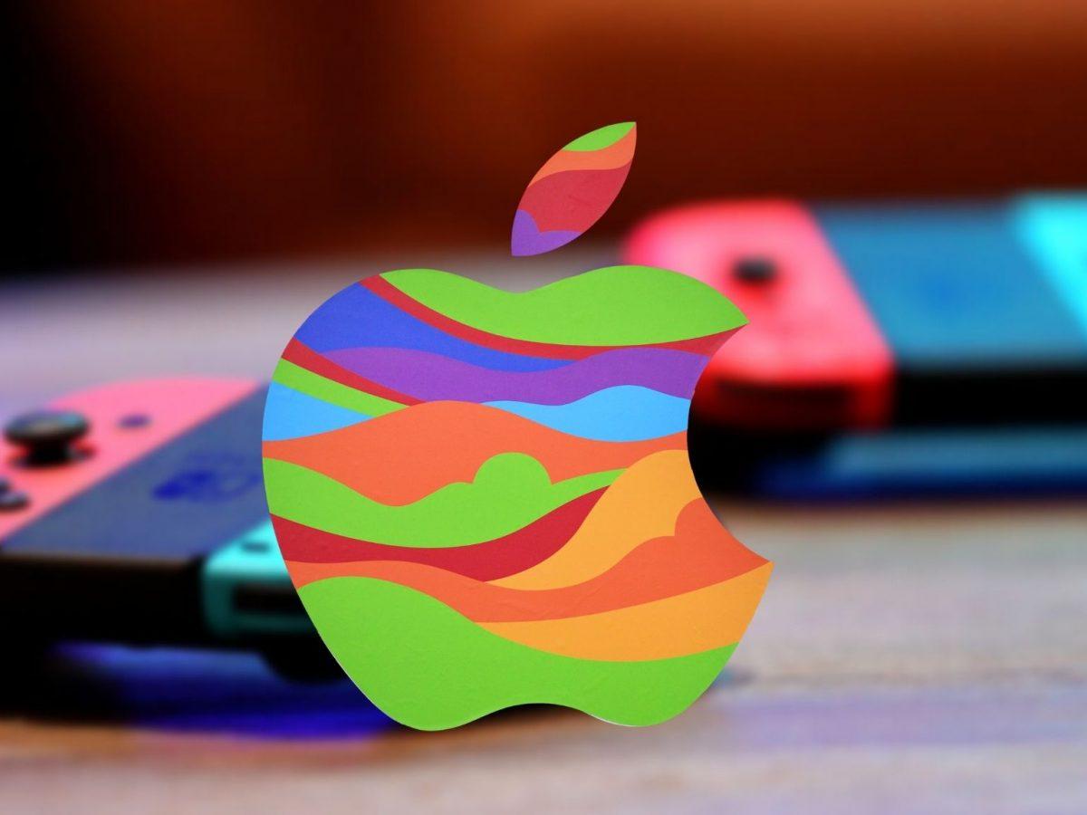 Apple-Logo vor einer Nintendo Switch