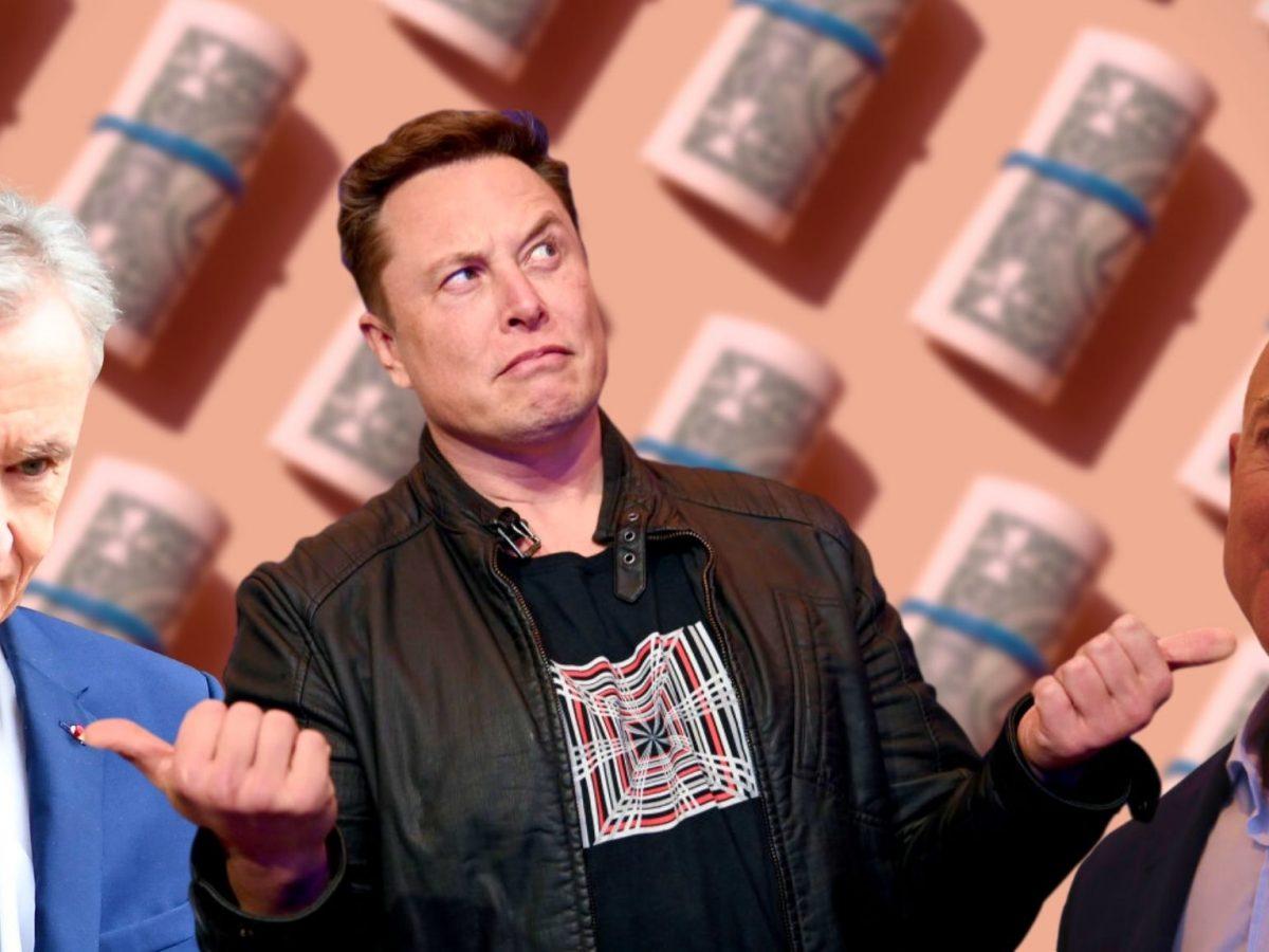 Bernard Arnault (l.), Elon Musk (m.) und Jeff Bezos (r.)