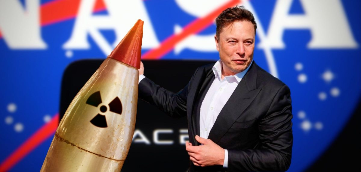 Elon Musk mit einer Atomrakete