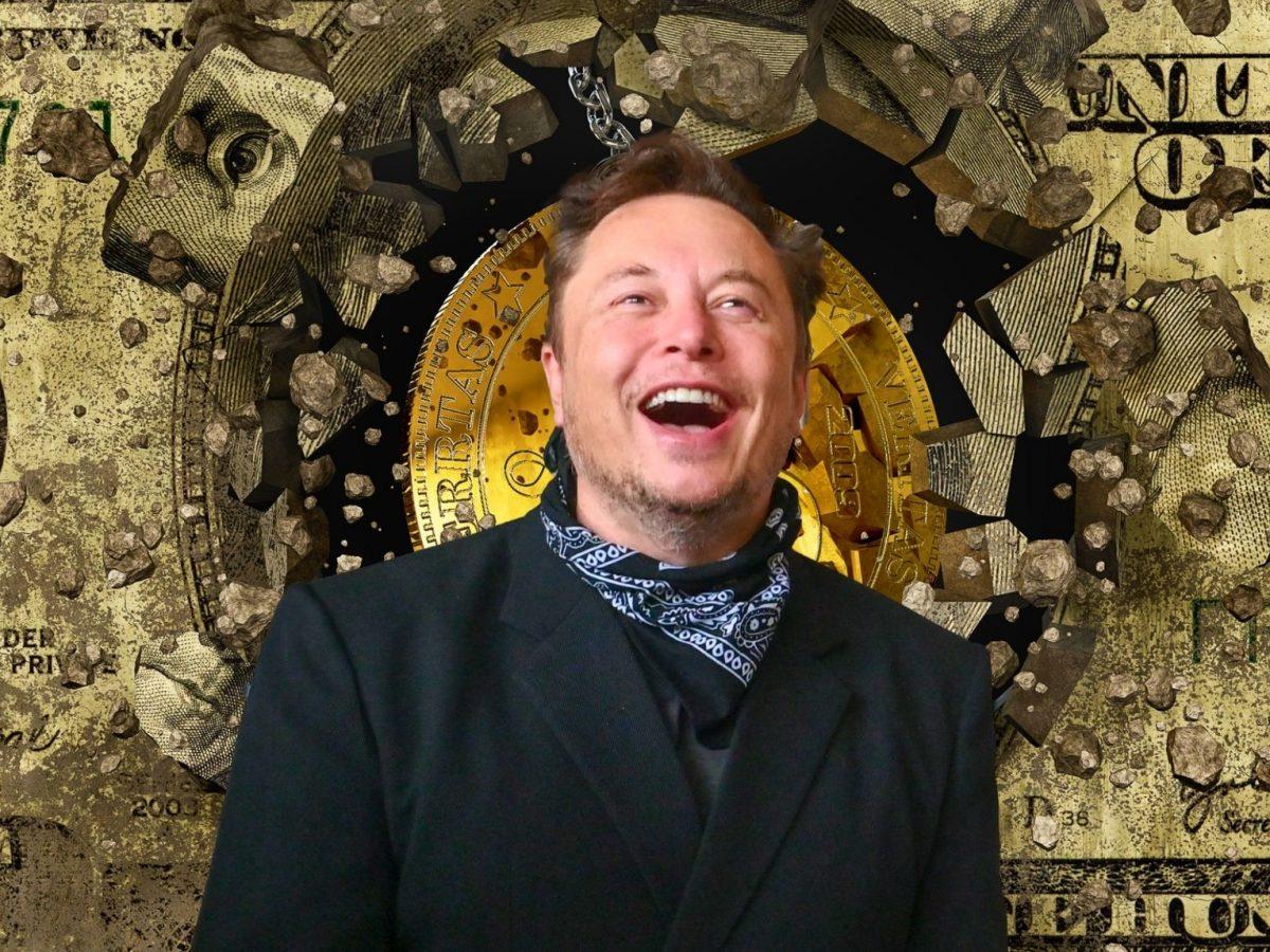 Elon Musk vor einem Dollarschein