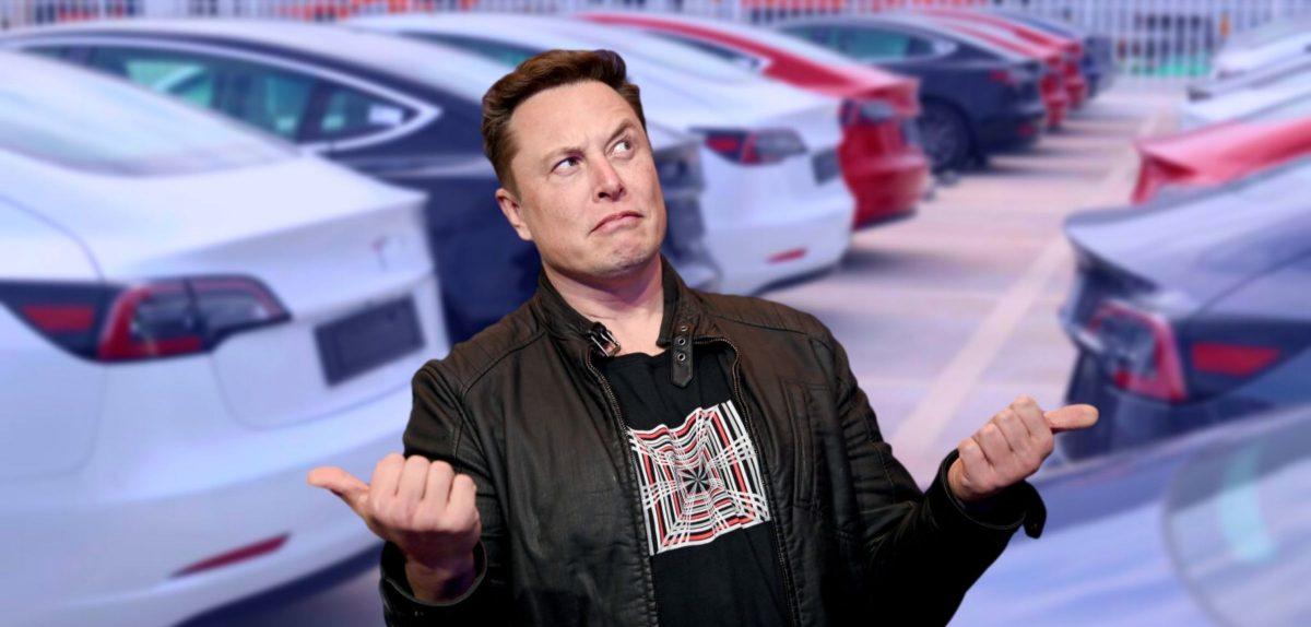 Elon Musk vor Elektroautos der Marke Tesla